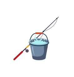 Fishing rod and bucket vector