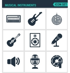 Set of modern icons musical instruments vector