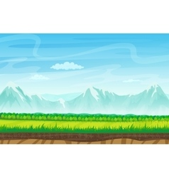 Seamless cartoon landscape with rocks mountains vector