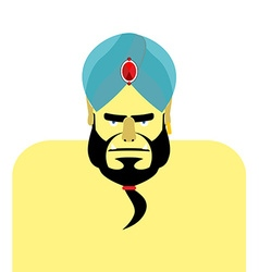Angry sheikh turban emir with beard blue turban is vector