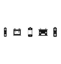 battery icon set simple style vector image