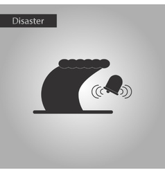 Black and white style icon tsunami alarming bell vector
