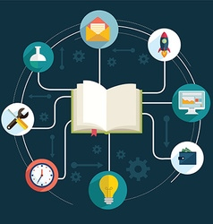 books and icons of science The concept of modern vector image vector image
