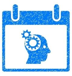 Brain gears calendar day grainy texture icon vector