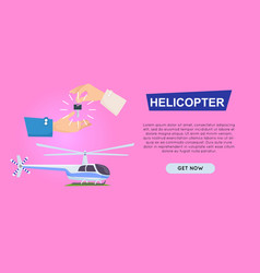 Buying new helicopter online web banner vector