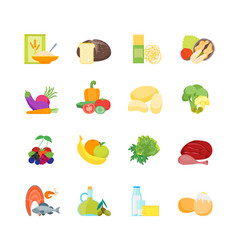 cartoon color healthy food set vector image vector image