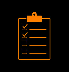 checklist sign orange icon on black vector image