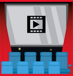 Cinema room with movie in the screen and chairs vector