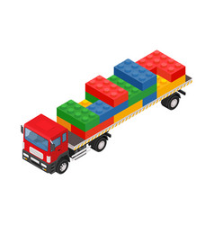 Consolidated freight isometric red large truck vector