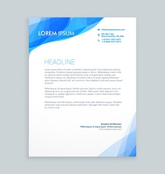 creative blue wave letterhead design vector image