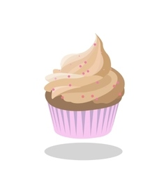 Cupcake beige icing decorated with pink sprinkles vector