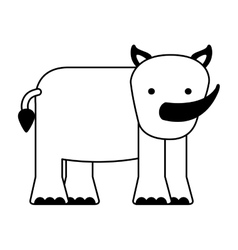 Cute rhino character icon vector