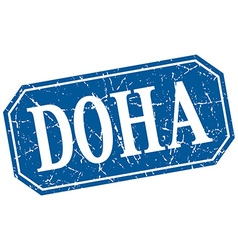 Doha blue square grunge retro style sign vector
