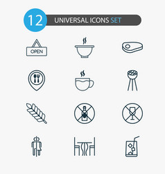 Eating icons set collection of board lemon juice vector