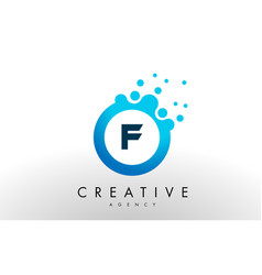 F letter logo blue dots bubble design vector
