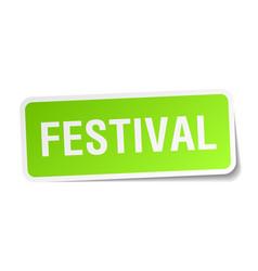 Festival square sticker on white vector