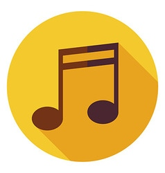 Flat music sign circle icon with long shadow vector