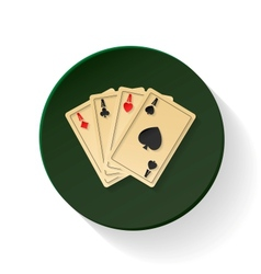 Four aces colored flat icon vector image vector image