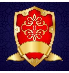 gold shield with ribbon vector image vector image