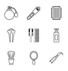 Hairdresser tools icons set outline style vector