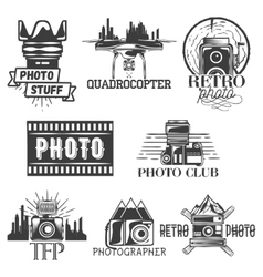 photography theme set in vintage style vector image