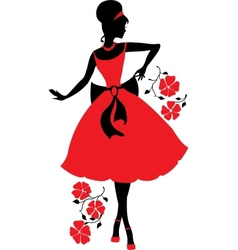 Retro woman silhouette vector image