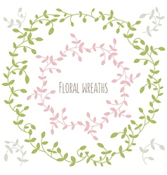 Set of two floral wreathes with leaves vector