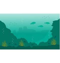 Silhouette of fish and big ship on underwater vector