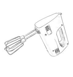 Sketch of electric mixer vector