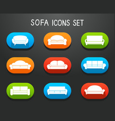 Sofas and couches furniture icons set vector