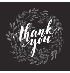 Thank you card chalk drawing on the blackboard vector