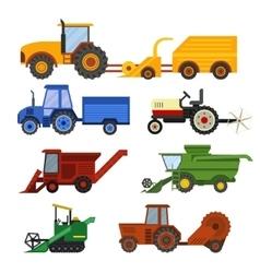 Harvester machine set vector image