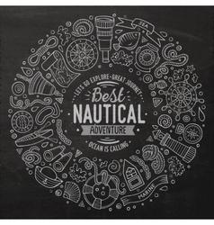 Set of nautical cartoon doodle objects symbols vector