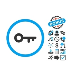 Key flat icon with bonus vector