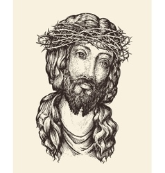 Portrait of jesus christ hand drawn sketch vector