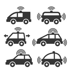 smart car icon set vector image