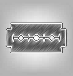 Razor blade sign pencil sketch imitation vector