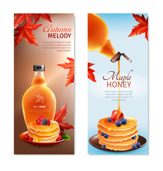 Maple syrup vertical banners set vector
