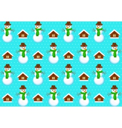 Pattern with snowmans vector