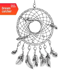 Native american dream catcher with feathers vector image