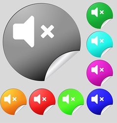 Mute speaker sound icon sign set of eight vector