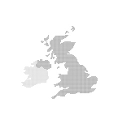 Grey map united kingdom in the dot vector