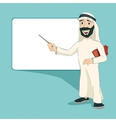 Arab businessman stands at blank white board vector image