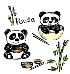Cute panda eating bamboo chopsticks hand vector
