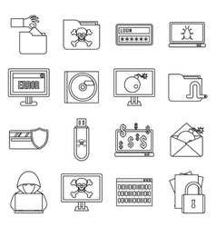 Criminal activity icons set outline style vector