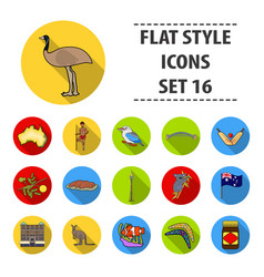 Australia set icons in flat style big collection vector