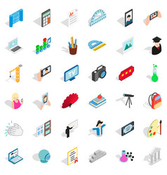 Backpack icons set isometric style vector