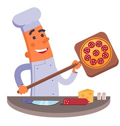 Cartoon chef holding pizza shovel with pizza vector image vector image