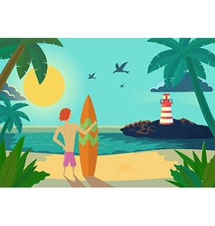 Cartoon surfer holding a surf board on tropical vector