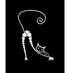 Cat made from white pearls on black vector